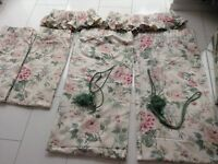 2 X Pairs of Laura Ashley Pencil Pleat Curtains with Frilled Pelmet and Tie Backs