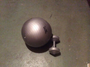 10 lb. dumbbell with smal fitness ball