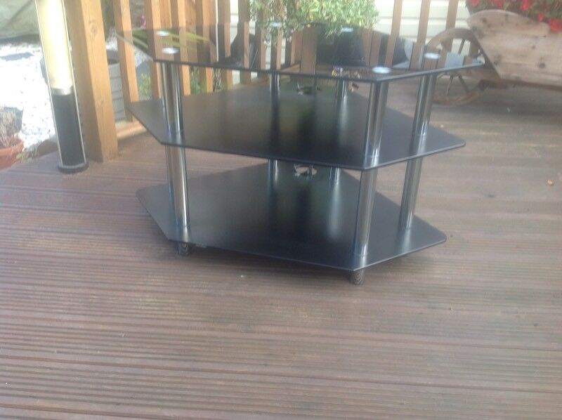 Black Glass and Chrome Corner Television Stand