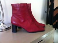 Red Leather Size 8 boots