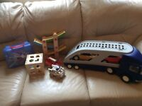 Little tikes car transporter plus wooden toys