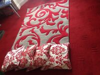 Red reflections damask rug as brand new.