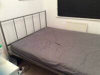 Silver/chrome double bed frame and mattress
