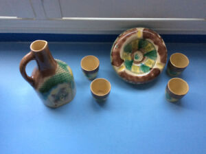 Handcrafted Bulgarian pottery set