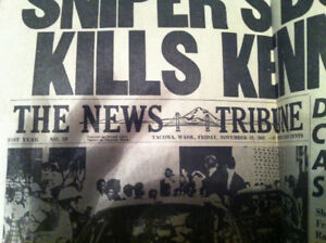 Newspaper printed the day after JFK asassination!!
