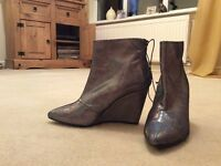 H&M Metallic Wedge Boot - Size 5