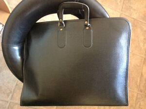 "Black  Leather Portfolio Carry Case Display Folder 20.5""W x 16""H"