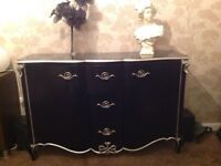 Modern gothic style sideboard and matching coffee table