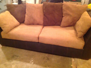 Suede and leather couch