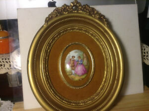 "Vintage Framed Ceramic Art ""Fragonard"""
