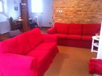 2 seater and 3 seater couch, sofa red sold together or separately