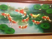 Framed large koi carp print/ painting on canvas