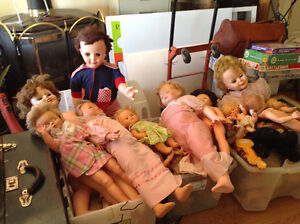 1940s to 1970 dolls, all sizes, colours, conditions.