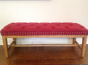 Beautiful Red Tufted Bench