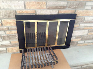 Fireplace Glass Doors with Grate