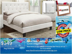 ◆Brand New Leather QN/DB Bed Frame W/Rhinestone on Sale@NEWD◆