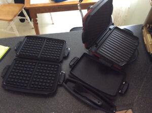 George Foreman grill, panini and waffle attachments