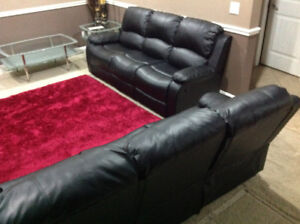 New 2piece black leather sofas