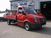2011 60 VW CRAFTER CR35 DROP SIDE PICKUP TDI 109BHP IN RED WITH LOW 57K MILES
