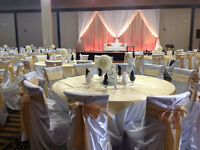 AFFORDABLE CHAIR COVERS, SASHES, FLOWER BALLS AND TABLECLOTHS
