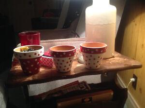 Red and white polka dot flower pot