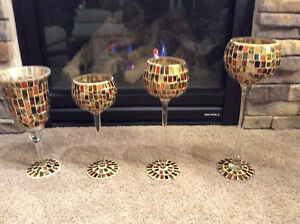 Vintage  set of 4 large stained glass goblets $50 firm