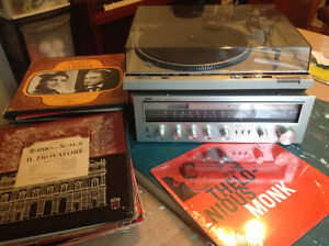 stereo JVC receiver and Technics turntable