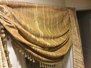 Multiple sets of drapes different sizes and colours