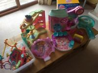 Large collection of Zhu Zhu pets and littlest pet shop play sets