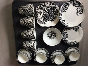 Black and white dish and cup set