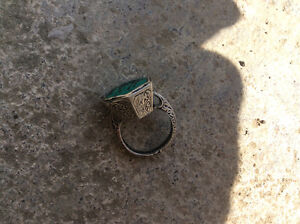 Antique vintage silver malachite wild horse ring Windsor Region Ontario image 3