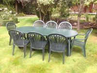 Grosfillex garden table and 8 chairs