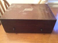Antique / vintage Solid oak cutlery box with draw from polish ww2 destroyer can post