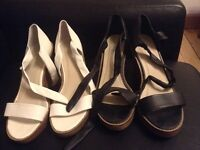 Two pairs of wedge sandals, size 6
