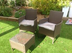 NEW Rattan effect chairs and coffee table together with cushions