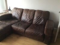 Chocolate Leather Sofa with chaise section