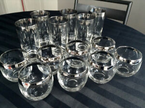 Set of 14 Vintage Silver Rimmed Glasses