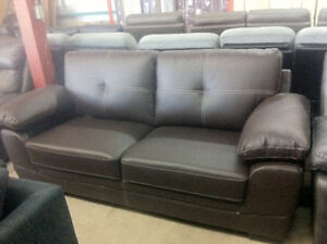 brown leather style couch - delivery available