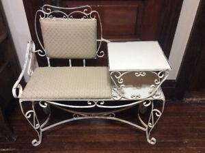 ANTIQUE WROUGHT IRON BENCH ~PHONE BENCH