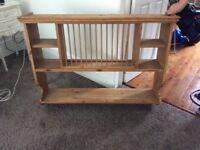 Pine plate rack and shelf