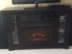 Electric Fireplace with Glass Shelves