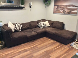 Brown microfibre L shape sectional