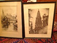2 Victorian etching signed and framed