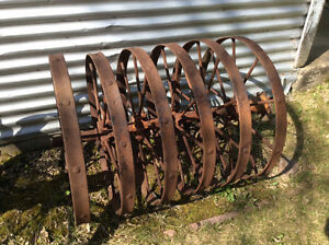 Antique Horse Drawn Imlements Plow and 6-Wheel Packer
