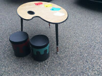 Kids paint table and stool set