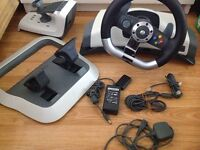 Xbox 360 steering wheel and pedal set wireless force feedback microsoft