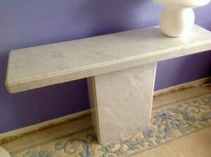 White marble sofa table