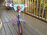 """12"""" girls frozen bike with stabilisers,,also frozen safety helmet,knee and elbow pad"""