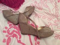Gold glitter wedges size 6