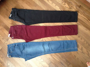 Three pair of skinny jeans